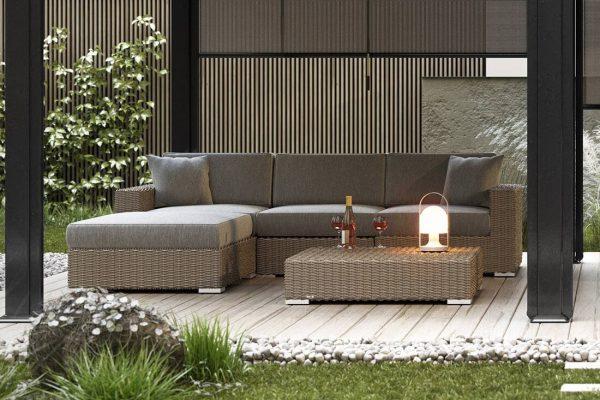 Milano 1 narożnik ogrodowy z technorattanu w kolorze piaskowym - eleganckie meble ogrodowe Oltre