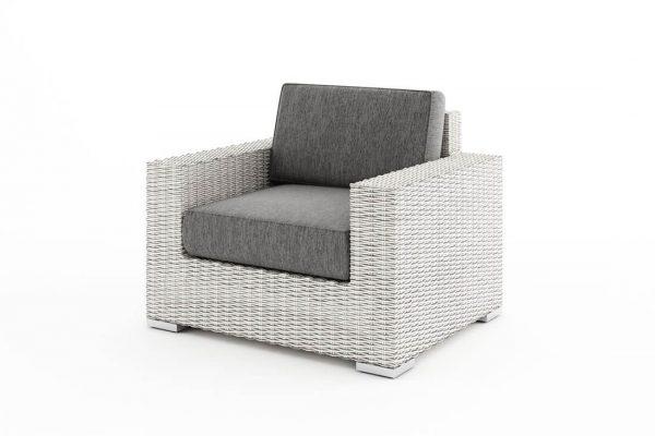 Milano 2 elegancki narożnik ogrodowy z technorattanu - fotel ogrodowy kolor biały