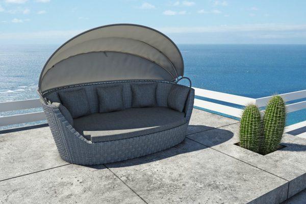 Portofino sofa leżanka ogrodowa z technorattanu z rozkładanym dachem