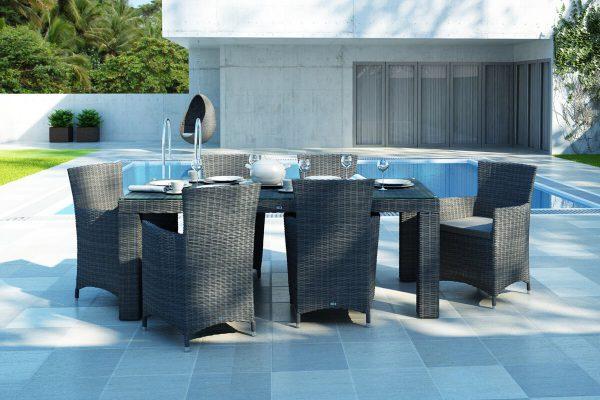 Rapallo Amanda meble ogrodowe technorattan zestaw obiadowy 4-8 osób 3 kolory technorattanu Oltre