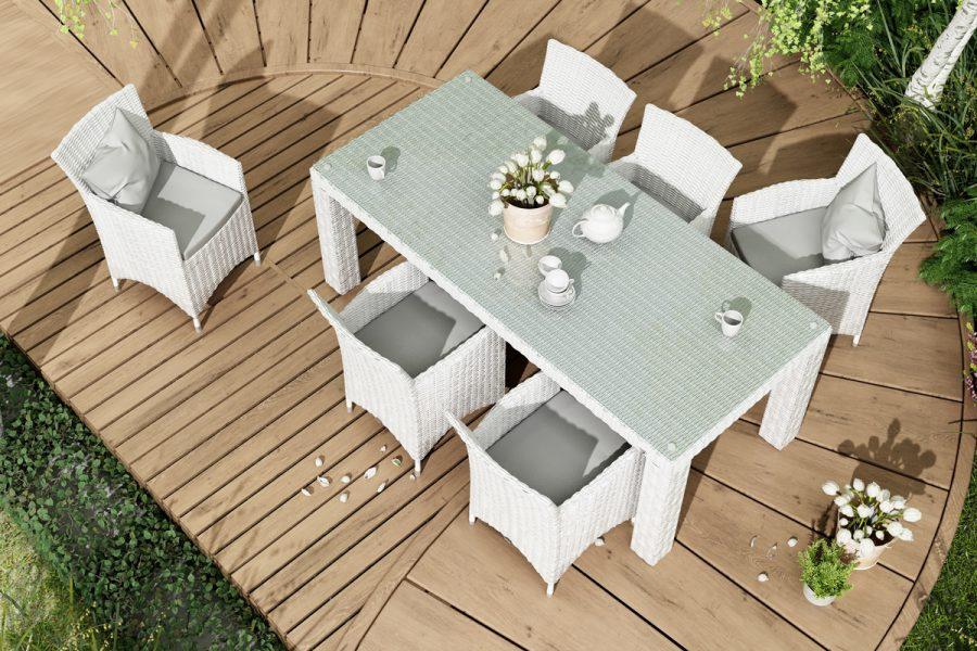Rondo Amanda meble ogrodowe technorattan zestaw obiadowy 4-8 osób stół Rapallo 220 x 90 cm 6 foteli ogrodowych Amanda kolor biały Oltre