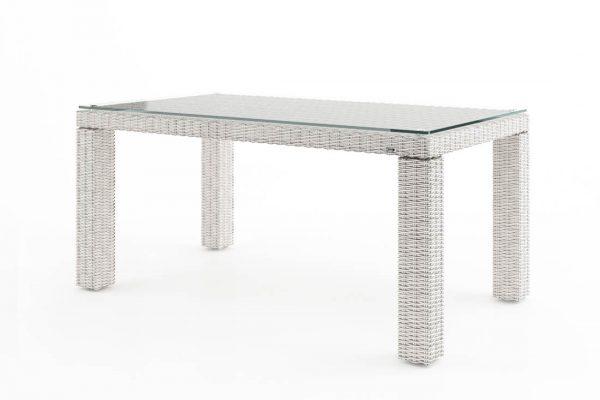 Rapallo stół ogrodowy z technorattanu z blatem szklanym 160 x 90 cm kolor biały meble ogrodowe Oltre