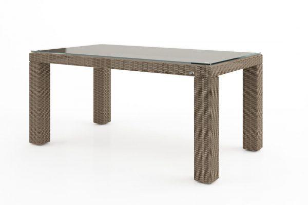 Rapallo stół ogrodowy z technorattanu z blatem szklanym 160 x 90 cm kolor piaskowy meble ogrodowe Oltre