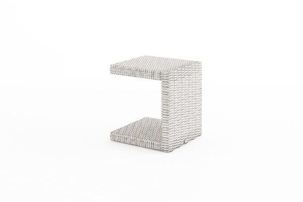Romeo niski stolik ogrodowy z technorattanu kolor biały do leżaka ogrodowego Oltre