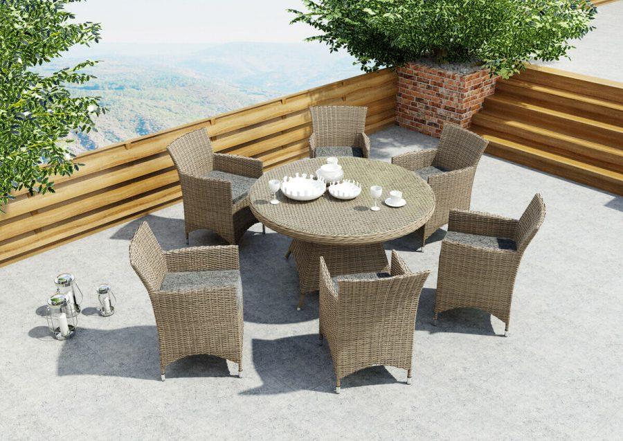 Rondo Amanda meble ogrodowe technorattan zestaw obiadowy 6 osobowy stół Rondo 130 cm 6 foteli ogrodowych Amanda kolor piaskowy Oltre