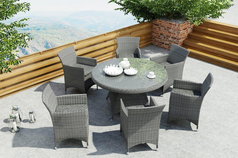 Rondo Amanda meble ogrodowe technorattan zestaw obiadowy 6 osobowy stół Rondo 130 cm 6 foteli ogrodowych Amanda kolor szary Oltre