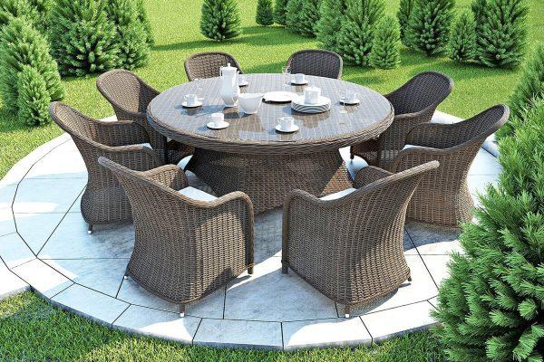 Rondo Leonardo meble ogrodowe technorattan zestaw obiadowy dla 8 osób stół Rondo 180 cm 8 foteli ogrodowych Leonardo kolor piaskowy Oltre