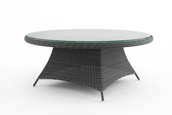 Rondo okrągły stół ogrodowy z technorattanu z blatem szklanym średnica 180 cm kolor szary Oltre