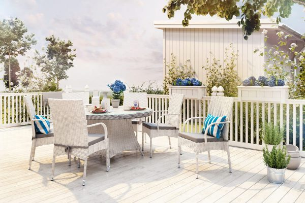 Rondo Tramonto meble ogrodowe technorattan zestaw obiadowy 6 osobowy stół Tondo 130 cm 6 krzeseł Tramonto kolor biały Oltre