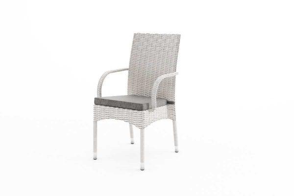 Tramonto krzesło ogrodowe z technorattanu z podłokietnikami kolor biały Oltre