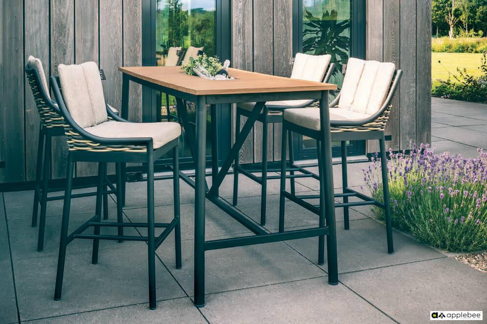 Milou luksusowy zestaw barowy technorattan aluminium - stół ogrodowy wysoki i 4 krzesła barowe z technorattanu