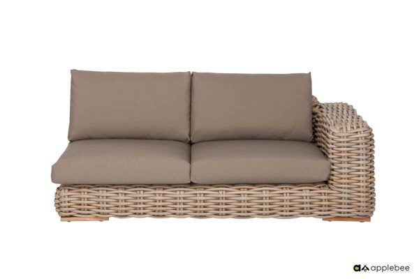FFF modułowy zestaw wypoczynkowy z technorattanu - sofa podwójna narożnika lewa