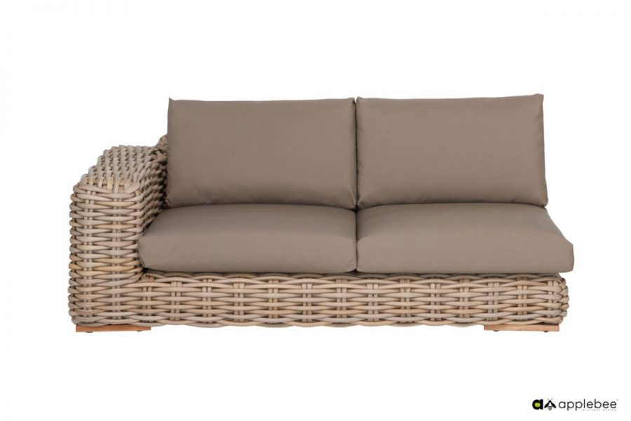 FFF modułowy zestaw wypoczynkowy z technorattanu - sofa podwójna narożnika prawa