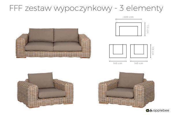 FFF modułowy zestaw wypoczynkowy z technorattanu - sofa ogrodowa oraz 2 fotele ogrodowe FFF