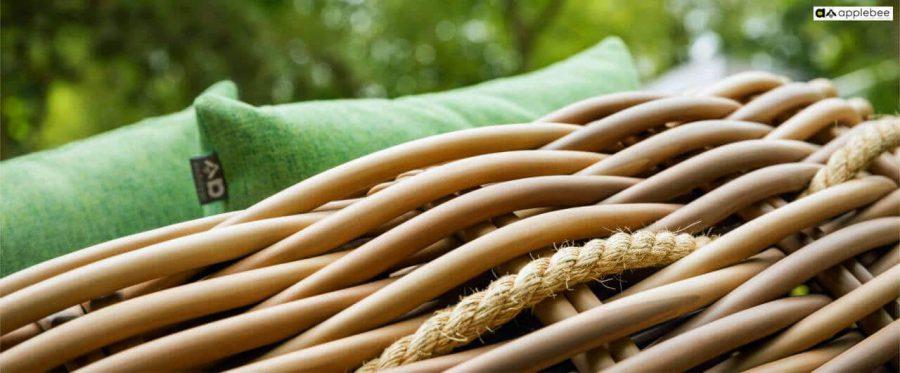 Cocoon luksusowa leżanka ogrodowa z technorattanu Apple Bee - uchwyty z liny sizalowej