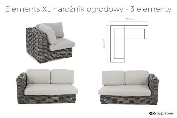 Elements XL modułowe meble ogrodowe - narożnik ogrodowy 3 elementowy