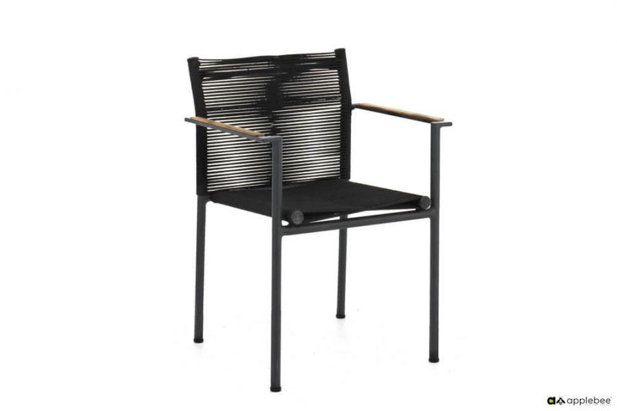 Jakarta zestaw stołowy do ogrodu dla 4 osób - krzesło ogrodowe Jakarta Black (czarne)