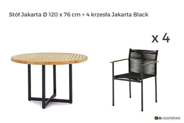 Jakarta zestaw stołowy do ogrodu dla 4 osób - stół okrągły + 4 krzesła ogrodowe Jakarta Black (czarne)