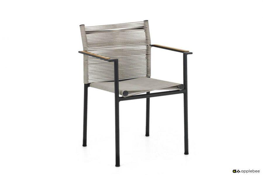 Jakarta zestaw stołowy do ogrodu dla 4 osób - krzesło ogrodowe Jakarta Grey (szare)