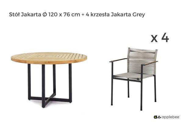 Jakarta zestaw stołowy do ogrodu dla 4 osób - stół okrągły + 4 krzesła ogrodowe Jakarta Grey (szare)