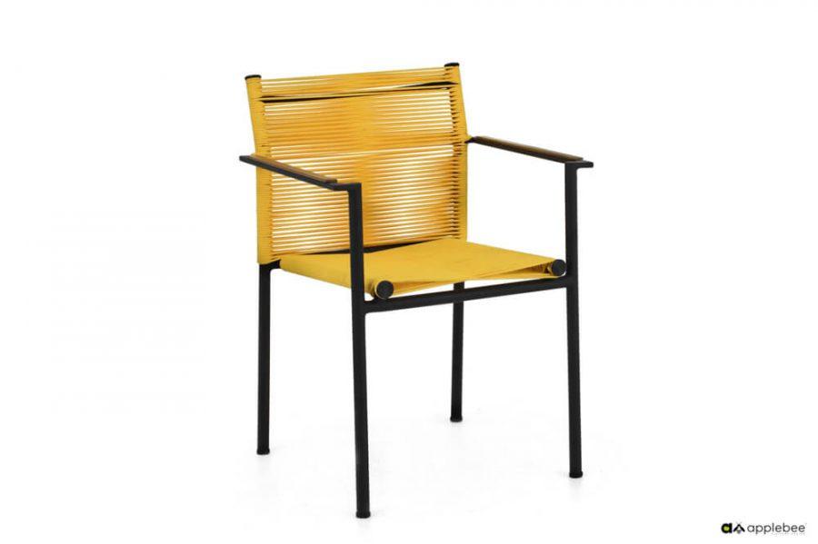 Jakarta zestaw stołowy do ogrodu dla 4 osób - krzesło ogrodowe Jakarta Lemon (żółte)