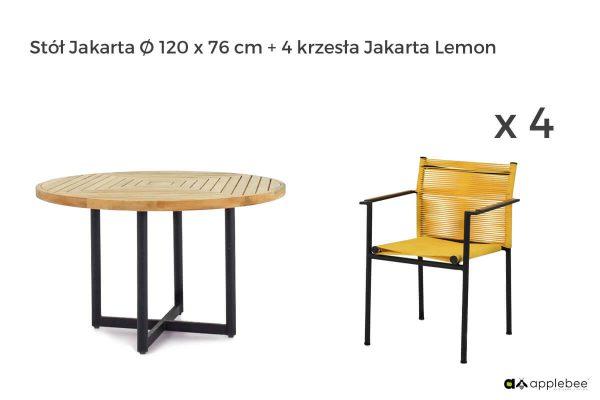 Jakarta zestaw stołowy do ogrodu dla 4 osób - stół okrągły + 4 krzesła ogrodowe Jakarta Lemon (żółte)