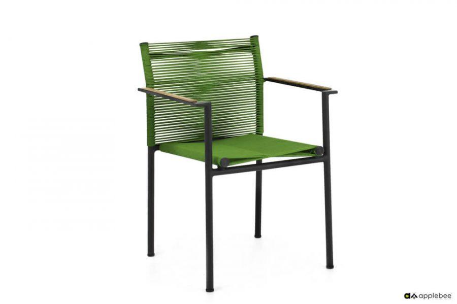 Jakarta zestaw stołowy do ogrodu dla 4 osób - krzesło ogrodowe Jakarta Olive (zielone)