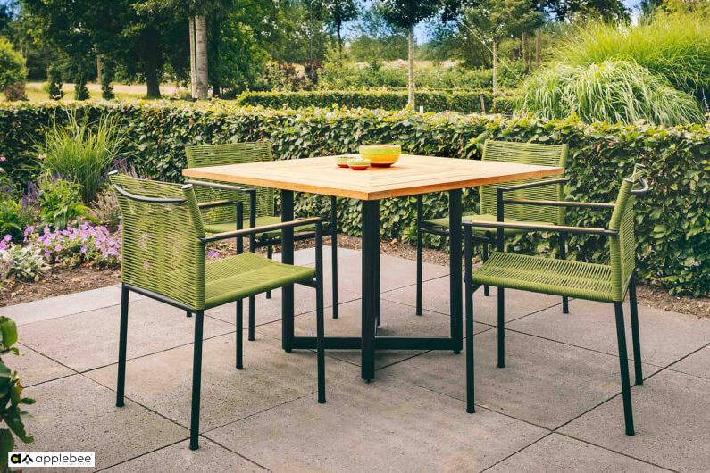 Jakarta zestaw stołowy do ogrodu dla 4 osób - stół kwadratowy + 4 krzesła ogrodowe Jakarta Olive (zielone)