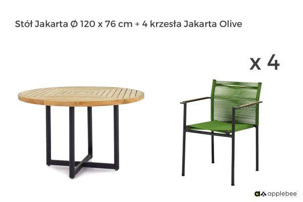 Jakarta zestaw stołowy do ogrodu dla 4 osób - stół okrągły + 4 krzesła ogrodowe Jakarta Olive (zielone)