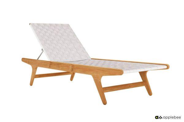 Juul leżak ogrodowy z drewna teakowego - kolor Nature - jasny beżowy
