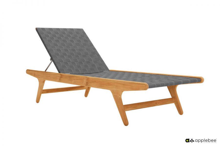 Juul leżak ogrodowy z drewna teakowego - kolor Pavement- szary