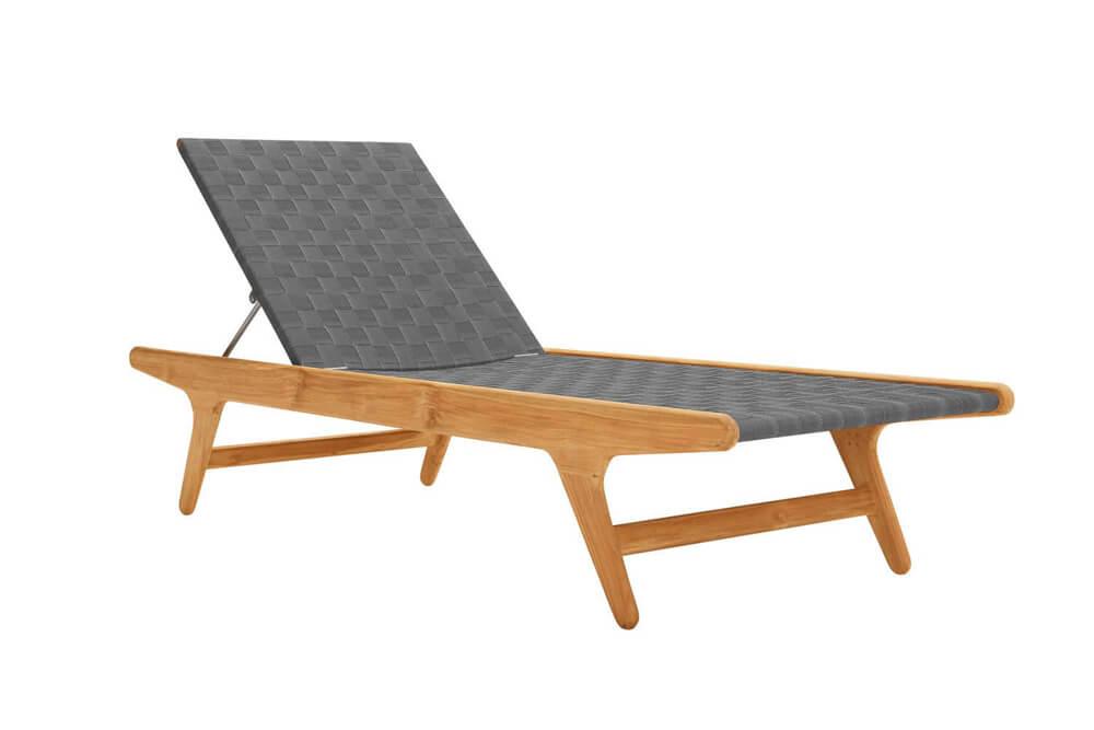 Juul leżak ogrodowy z drewna teakowego - kolor Pavement - szary