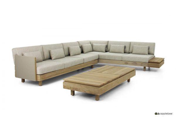 Moduł X Coastal meble ogrodowe tekowe - zestaw narożny ze stolikiem kawowym - propozycja aranżacji