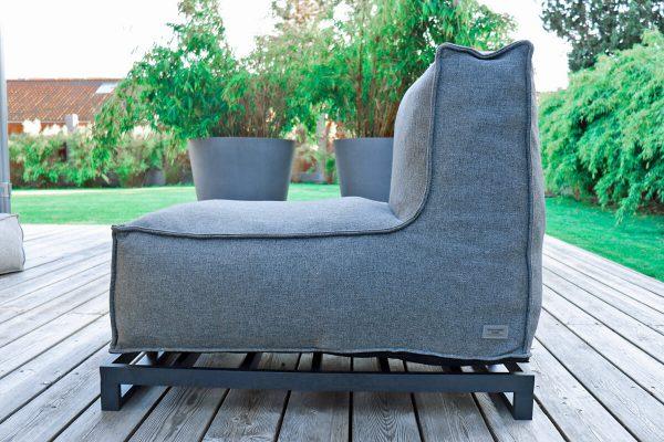 C-1 nowoczesna podwójna sofa ogrodowa z tkaniny | Rama aluminiowa podwyższająca mebel