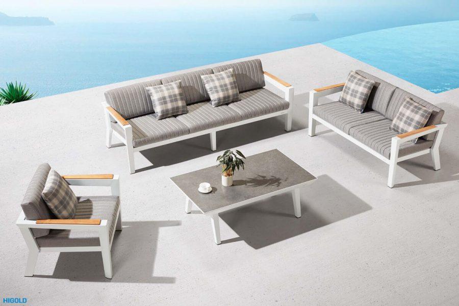 Champion nowoczesny zestaw mebli ogrodowych   Przykładowa konfiguracja zestawu - sofa 3 osobowa + sofa 2 osobowa +2 fotele + stolik ogrodowy