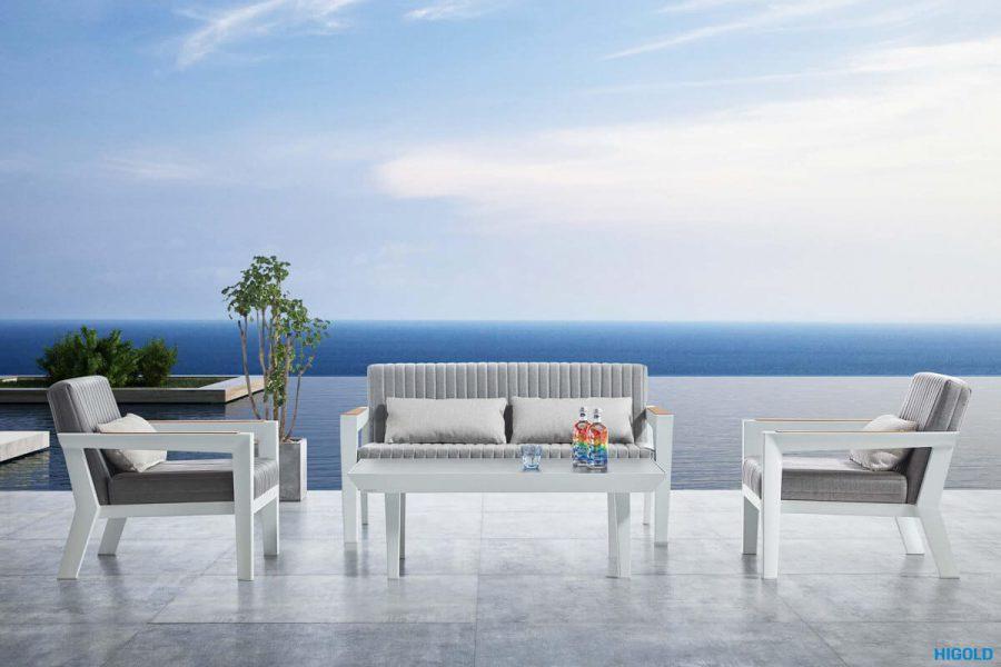 Champion nowoczesny zestaw mebli ogrodowych   Przykładowa konfiguracja zestawu - sofa 2 osobowa + 2 fotele + stolik ogrodowy