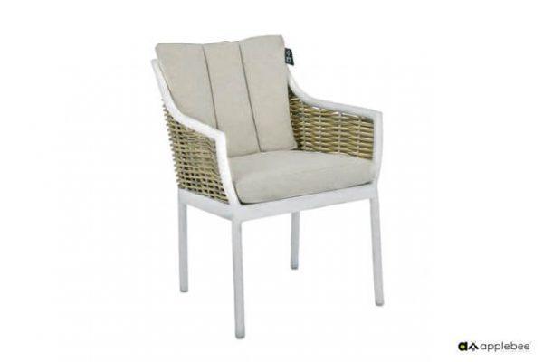 Milou luksusowe meble stołowe technorattan aluminium kolor biały Apple Bee krzesło ogrodowe