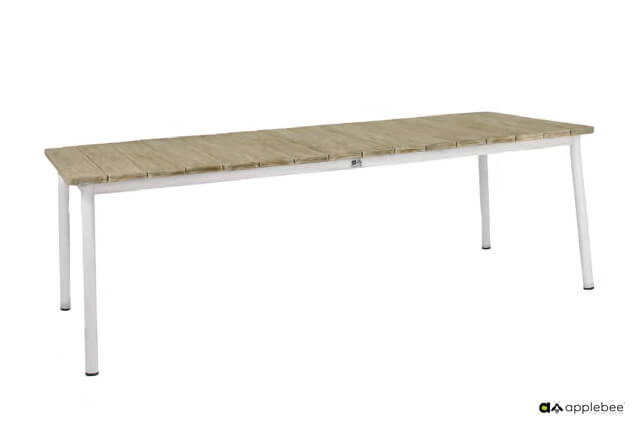 Milou luksusowe meble stołowe technorattan aluminium kolor biały Apple Bee