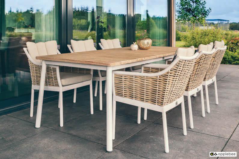 Milou luksusowe meble stołowe technorattan aluminium w kolroze białym Apple Bee