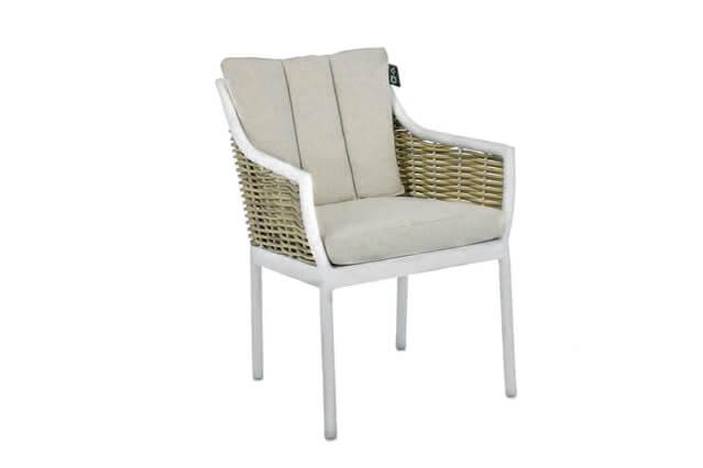 Milou luksusowy zestaw stołowy - krzesło ogrodowe białe technorattan aluminium