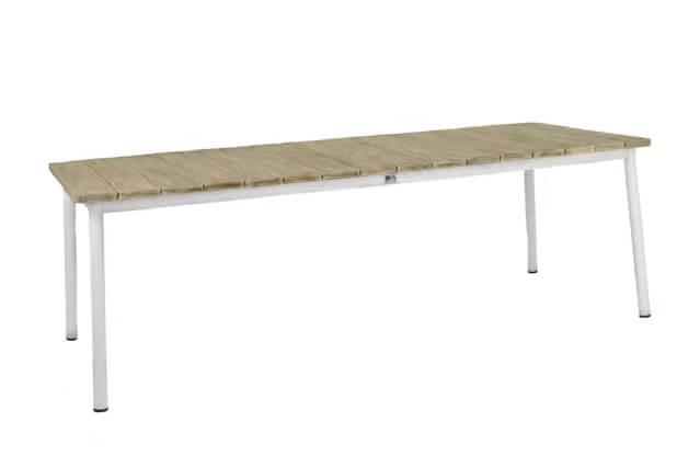 Milou luksusowy zestaw stołowy - stół ogrodowy biały z blatem drewnianym