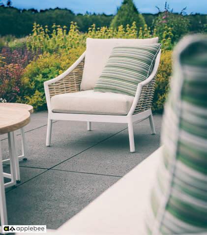 Milou meble ogrodowe technorattan zestaw wypoczynkowy biały - fotel ogrodowy biały