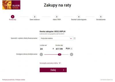 szybkie płatności elektroniczne Przelewy24 raty Alior Bank przykład wniosku