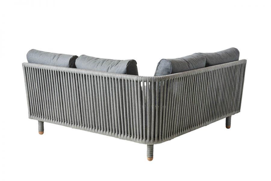 Moments narożna sofa ogrodowa modułowa narożnik ogrodowy tył oplot z liny pp