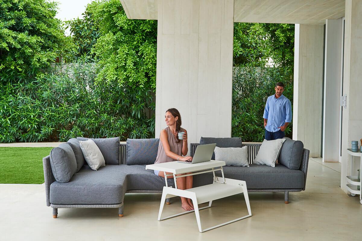 Moments narożna sofa ogrodowa sofa podwójna lewa Cane-line luksusowe meble ogrodowe