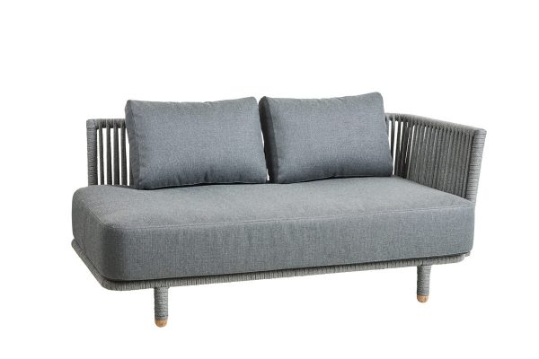 Moments sofa leżanka 2 osobowa z podłokietnikiem lewa luksusowe meble ogrodowe Cane-line