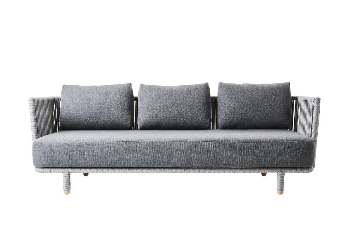 Moments sofa ogrodowa 3 osobowa szara