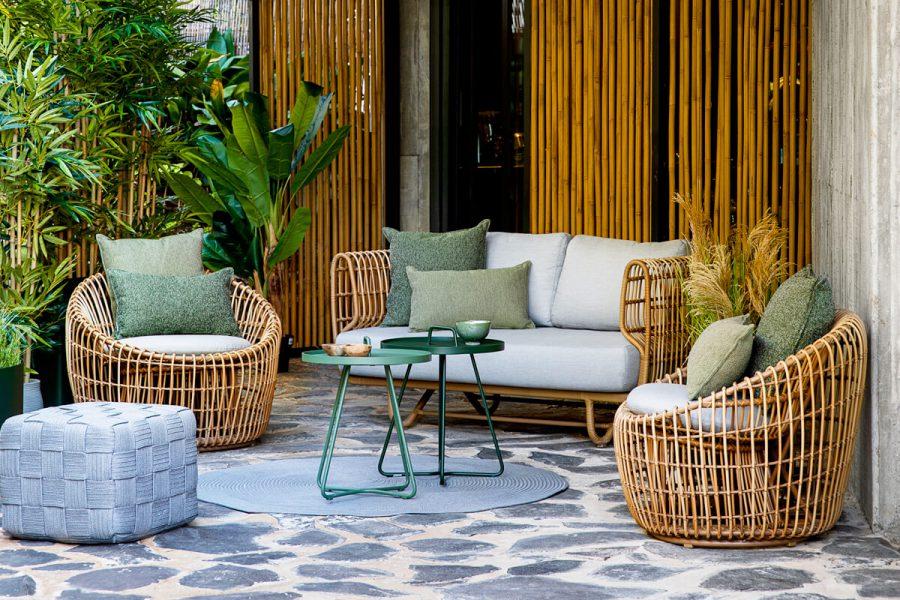 Nest okrągły fotel z technorattanu sofa ogrodowa fotel   Kolekcja Cane-line luksusowe meble ogrodowe