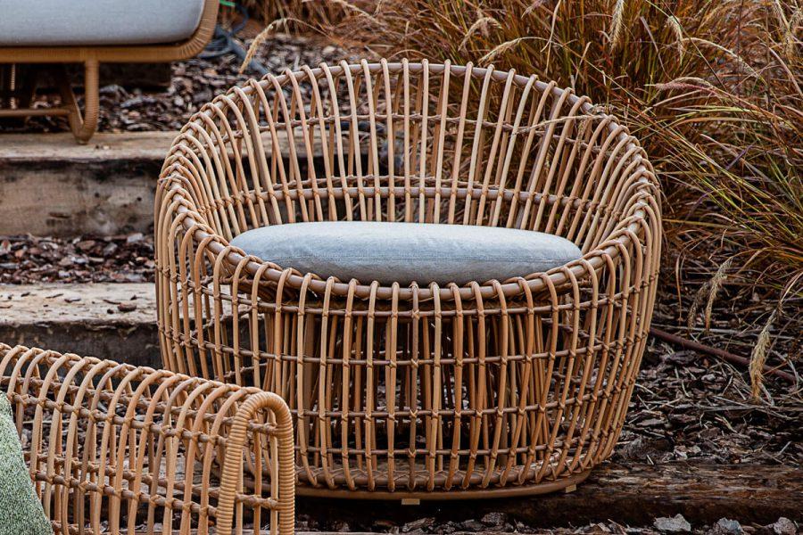 Nest okrągły fotel ogrodowy z technorattanu z poduszką   Kolekcja Nest Cane-line