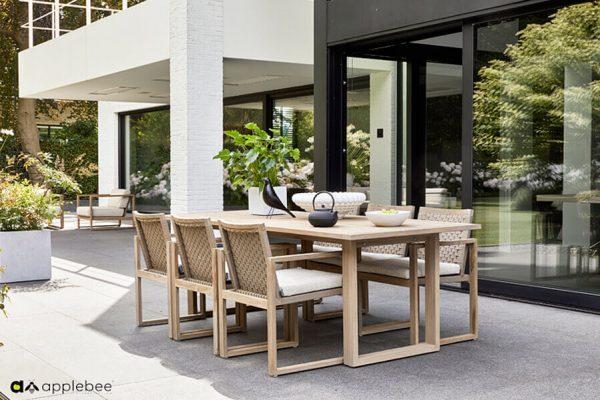 Antigua luksusowy zestaw obiadowy z drewna teakowego stół ogrodowy 6 krzeseł Apple Bee